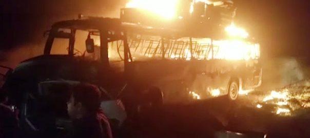 حب ٹریفک حادثہ  گاڑی میں آتشزدگی مسافر زندہ جل گئے  92 نیوز