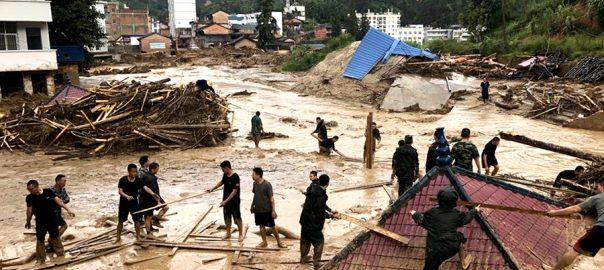 طوفانی بارشوں  طوفانی بارشیں  چین  تباہی مچادی 16لاکھ افراد متاثر بیجنگ  92 نیوز