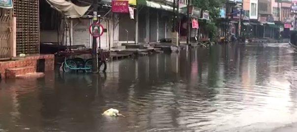 لاہور وقفے وقفے سے بارش موسم خوشگوار 92 نیوز  تیز اور ہلکی بارش  نشیبی علاقے زیر آب لاہور کو بھگو دیا  موسلادھار بارش  علی الصبح 