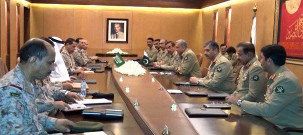 سعودی، بری فوج، کمانڈر، آرمی چیف قمر باجوہ، ملاقات، باہمی دلچسپی، امور، تبادلہ خیال