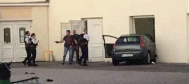 فرانس ، شہر ، کولمار ، کار ، مسجد ، ٹکر، گاڑی ، داخلی دروازے ، پھنس