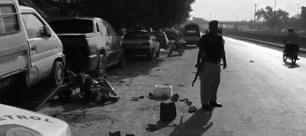 کراچی  ڈاکوؤں کی فائرنگ  پولیس اہلکار شہید دو ڈاکو ہلاک 92 نیوز ناظم آباد  عید گاہ 