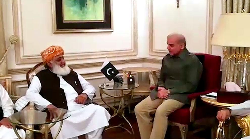 مولانا فضل الرحمان اور شہباز شریف کی ملاقات، اسلام آباد دھرنے کیلئے کمیٹیاں تشکیل