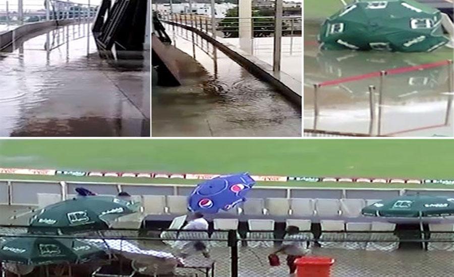 بارش نے نیشنل اسٹیڈیم کراچی کی تزین و آرائش کی قلعی کھول دی، میڈیا کا داخلہ بند