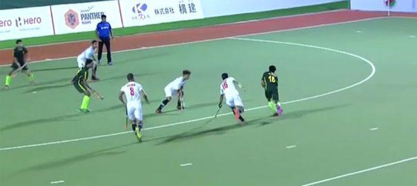 پاکستان ڈویلپمنٹ اسکواڈ ، ہاکی سیریز ، پہلے ، میچ ، عمان ، 0-7 ، شکست