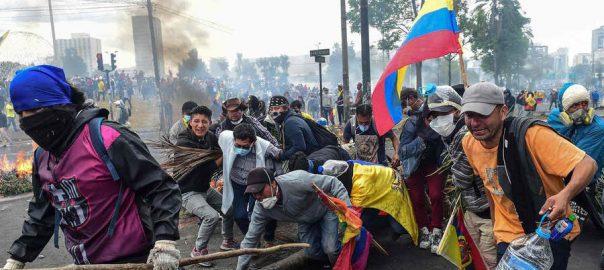 ایکواڈور،حکومتی معاشی پالیسیوں، ہزاروں افراد سڑکوں پر، قوئیٹو، 92 نیوز