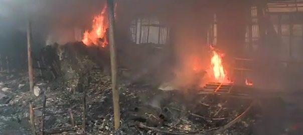 پشاور موڑ اتوار بازار  آتشزدگی اسلام آباد  92 نیوز آتشزدگی  فائر بریگیڈ  ریسکیو ذرائع شارٹ سرکٹ