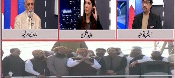 آزادی مارچ ہارون الرشید لاہور مانیٹرنگ ڈیسک تجزیہ کار پروگرام مقابل فضل الرحمان تجزیہ کار اویس توحید