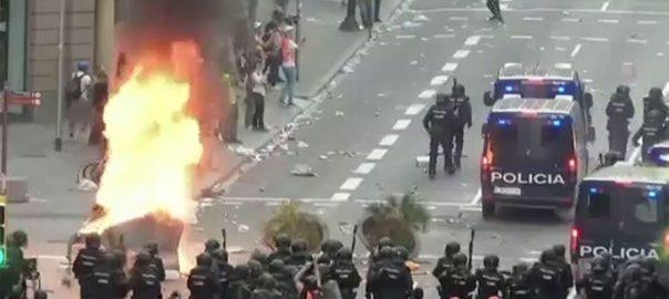 کاتالونیا، علیحدگی پسندوں، ریلی، پُرتشدد مظاہروں، 92 نیوز