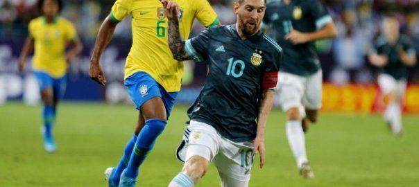 فرینڈلی فٹ بال میچ، ارجنٹینا، برازیل کو شکست، میسی، شاندار پرفارمنس، ریاض، 92نیوز