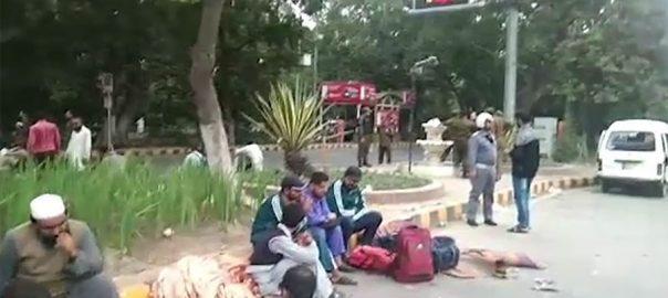 لاہور ، مال روڈ ، نابینا ، افراد ، دھرنا ، چوتھے روز ، جاری