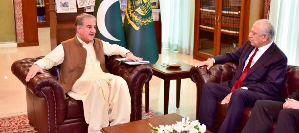 امریکی نمائندہ خصوصی ، زلمے خلیل زاد ، وزیر خارجہ ، شاہ محمود قریشی ، ملاقات، افغان امن عمل ، خطے ، امن وامان ، صورتحال ، تبادلہ خیال