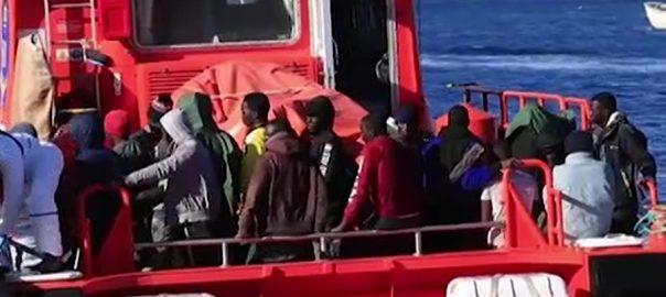 اسپین کوسٹ گارڈز  تارکین وطن کشتی کو ڈوبنے سے بچالیا میڈرڈ  92 نیوز