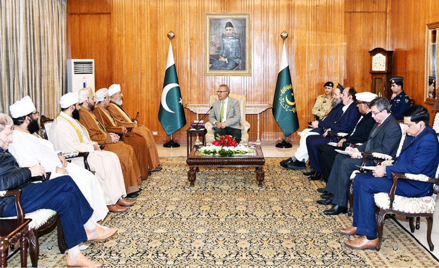 عمان کے وزیر مذہبی امور کی صدر مملکت عارف علوی سے ملاقات ، دو طرفہ امور پر تبادلہ خیال