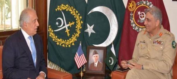 آرمی چیف، امریکی نمائندہ خصوصی، زلمے خلیل زاد، ملاقات، باہمی دلچسپی امور، تبادلہ خیال، راولپنڈی، 92 نیوز