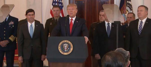 ایران ، عراق ، فوجی اڈوں ، حملے ، امریکی ، نقصان ، صدر ، ٹرمپ