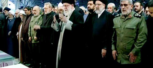 جنرل قاسم سلیمانی تہران نماز جنازہ ادا 92 نیوز ایرانی جنرل قاسم سلیمانی  مشہد  اہوار  سپریم لیڈر آیت اللہ خامنہ ای 