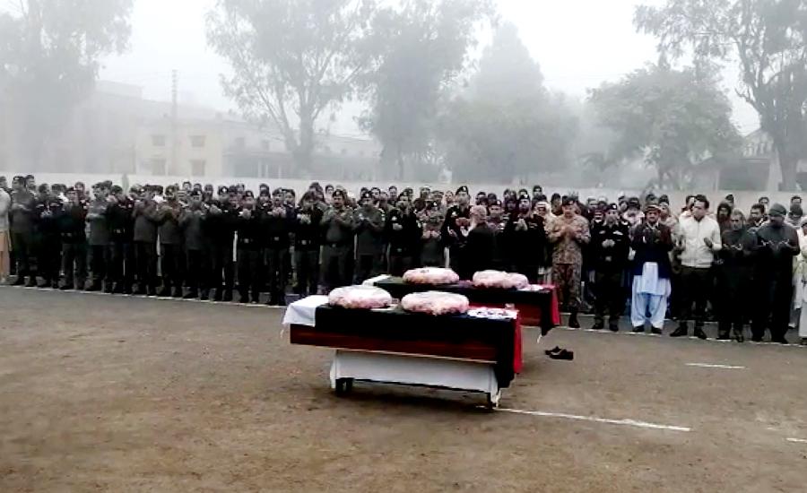 راولپنڈی میں شہید ہونیوالے دو اہلکاروں کی نماز جنازہ ادا