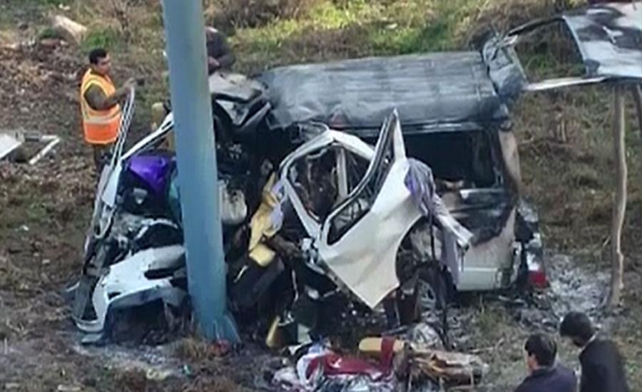 بھیرہ کے قریب موٹروے پر وین میں آتشزدگی، 11 مسافر جھلس کر جاں بحق