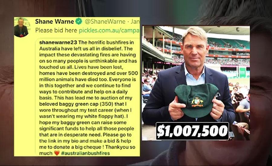 شین وارن کی تاریخی ٹیسٹ کیپ10  لاکھ ڈالر میں نیلام