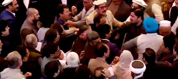 خیبرپختونخوا  خیبرپختونخوا اسمبلی  اپوزیشن ارکان  تلخ کلامی  ہاتھا پائی  پشاور  92 نیوز