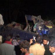 روہڑی کے قریب مسافر بس ٹرین کی زد میں آگئی، 30 افراد جاں بحق، متعدد زخمی