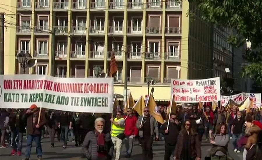 یونان میں مجوزہ پیشن اصلاحات کے خلاف احتجاج ، ٹرانسپورٹ ورکرز بھی احتجاج میں شامل