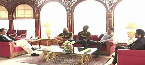 وزیر اعظم ، عمران خان ، ڈیرن سیمی ،چیئرمین جاوید آفریدی ،ہیڈ کوچ محمد اکرم ، ملاقات