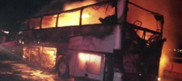 دمشق ، آئل ٹینکر ، 2 بسوں ، ٹکر ، 30 افراد جاں بحق ، متعدد زخمی ، 92 نیوز