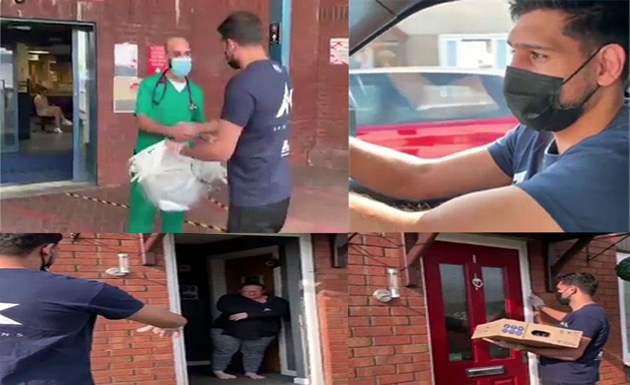 باکسر عامر خان نے مانچسٹر میں لاک ڈاؤن کے باعث گھروں میں بند افراد تک کھانا پہنچایا