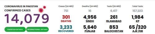 پاکستان ، کورونا ، جاں بحق ، مجموعی تعداد ، 301