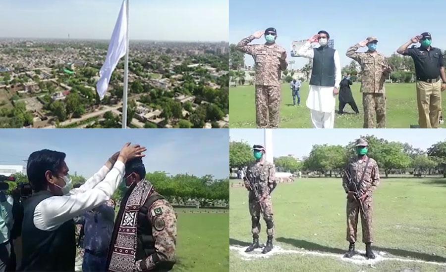 سکھر میں کورونا وائرس کے خلاف لڑنے والے سپاہیوں کو خراج تحسین پیش کرنے کیلئے تقریب