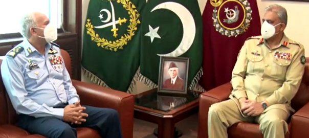 سربراہ پاک فضائیہ ، جی ایچ کیو کا دورہ ، آرمی چیف سے ملاقات ، آئی ایس پی آر ، راولپنڈی ، 92 نیوز