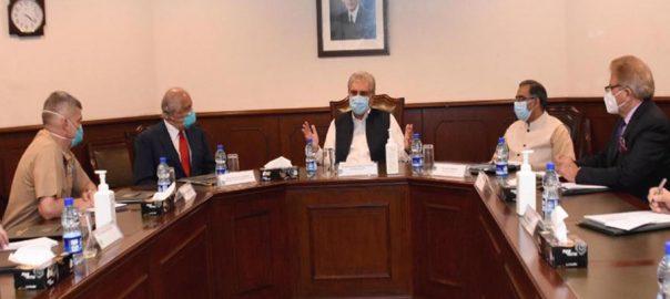 امریکی نمائندہ خصوصی زلمے ، خلیل زاد ، شاہ محمود قریشی ، ملاقات ، افغان امن عمل ، تبادلہ خیال