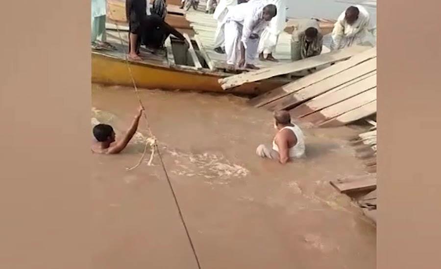 بہاولپور میں دریائے ستلج پر قائم سرکاری عارضی پل پھر ٹوٹ گیا