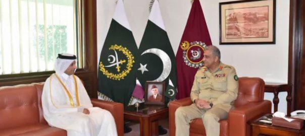 آرمی چیف ، قطری سفیر ، ملاقات ، مختلف شعبہ جاتی تعاون ، باہمی دلچسپی ، امور ، تبادلہ خیال