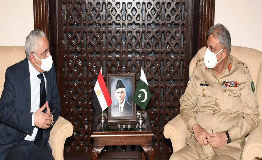 آرمی چیف سے مصر کے سفیر کی ملاقات ، مختلف شعبوں میں تعاون پر گفتگو