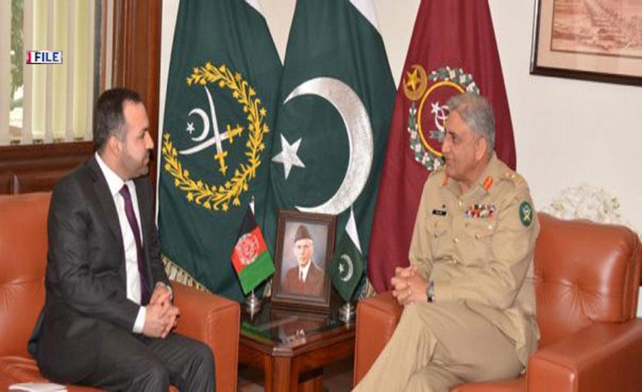 آرمی چیف سے افغان سفیر کی الوداعی ملاقات، افغان امن عمل کی حمایت پر اظہار تشکر