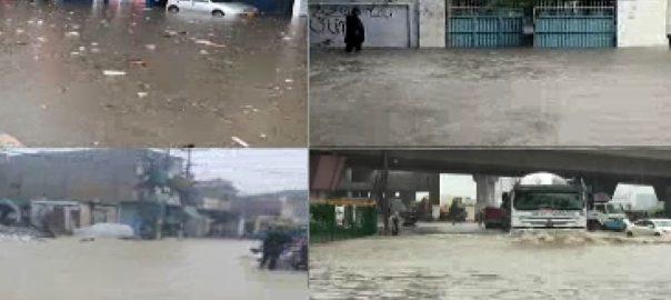 کراچی ، مون سون ، بارشوں ، چھٹے اسپیل ، اربن فلڈنگ ، سڑکیں ، دریا