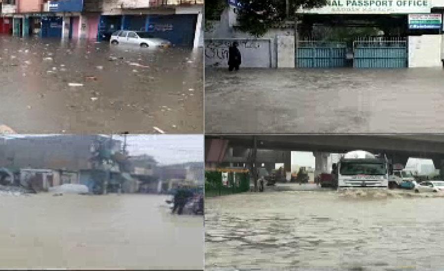 کراچی میں مون سون بارشوں کے چھٹے اسپیل سے بدترین اربن فلڈنگ ، سڑکیں دریا بن گئیں