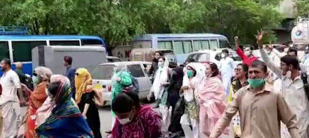 کراچی ، کنٹریکٹ ، کورونا وارڈز ، تعینات ، نرسز ، وزیراعلیٰ ہاؤس ، احتجاج