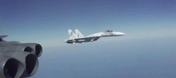 روسی طیارے ، فضا ، امریکی ، بمبار ، طیارے ، انتہائی ، قریب