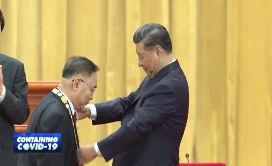 چین میں کورونا وائرس کیخلاف لڑنے والوں کےاعزاز میں تقریب