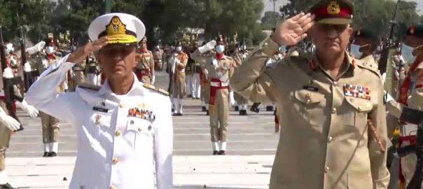 امیرالبحرایڈمرل امجد نیازی ، جی ایچ کیو کا دورہ ، آرمی چیف جنرل قمر جاوید باجوہ ، ملاقات ، آئی ایس پی آر ، راولپنڈی ، 92 نیوز