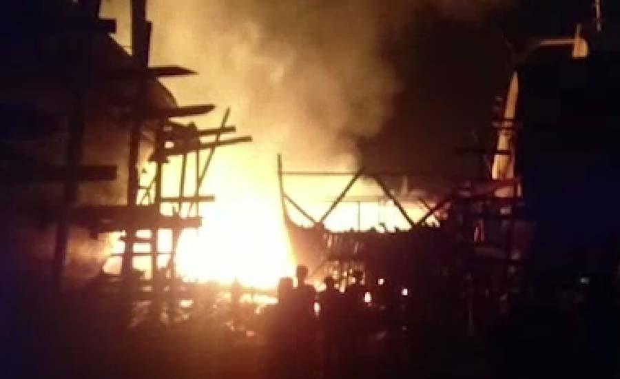 فشریز کے پی ٹی بوٹ بلڈنگ یارڈ میں آتشزدگی،8 لانچیں جل گئیں