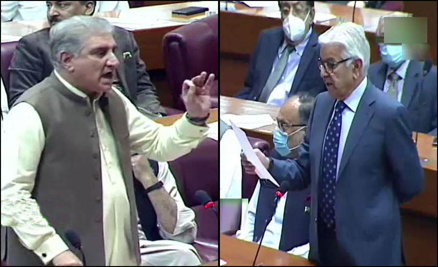قومی اسمبلی، خواجہ آصف اور شاہ محمود قریشی میں گرما گرم بحث