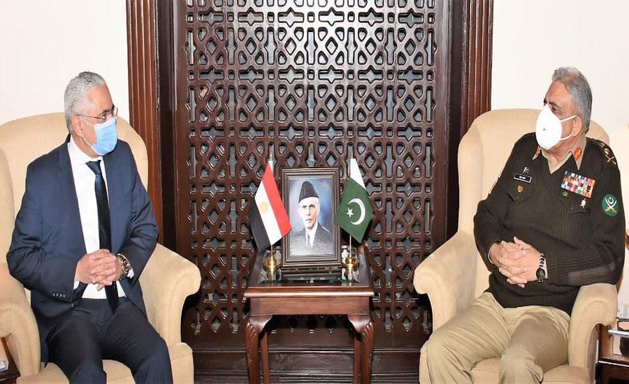 آرمی چیف سے مصری سفیر کی ملاقات، علاقائی سلامتی، دفاع اور سکیورٹی تعاون پر تبادلہ خیال