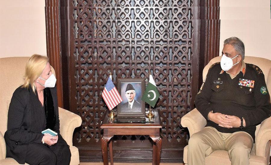 آرمی چیف سے امریکی ناظم الامور انجیلا ایگیلر کی ملاقات، اہم اُمور پر گفتگو