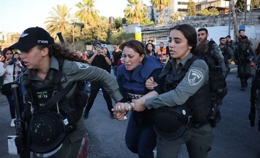 بیت المقدس، اسرائیلی فورسز کا خاتون صحافی پر دوران رپورٹنگ تشدد، گرفتار و رہا