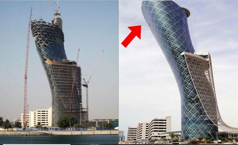 ابوظہبی میں خم کھاتی '' کیپٹل گیٹ بلڈنگ '' فن تعمیر کا منہ بولتا ثبوت